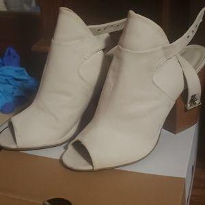 Women's white peep toe shoes